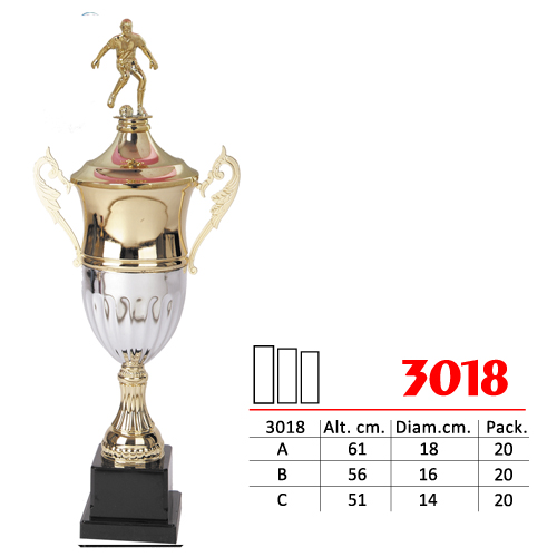 Copa Color Dorado/Plateado Base Color Negro Diseño Futbol Modelo Nº 3018