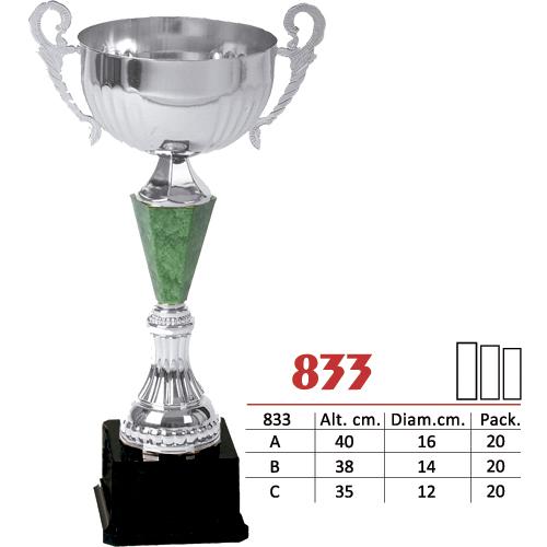 Copa Color Plateado y Verde Diseño Tradicional Modelo Nº833