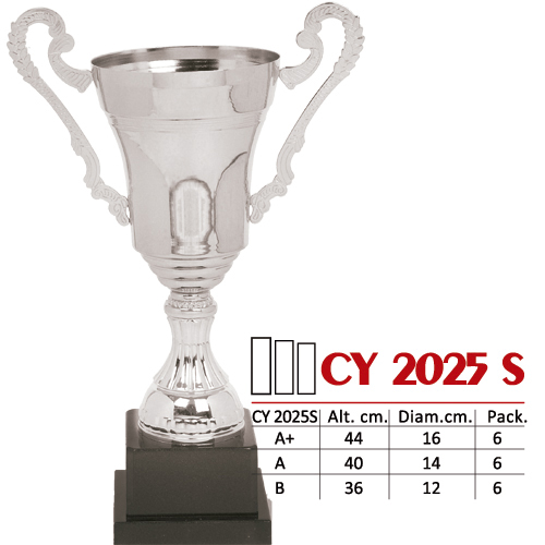 Copa Color Plateado Base de color Negro Diseño Tradicional Modelo CY 2025 S