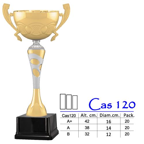 Copa Color Dorado / Plateado Base de color Negro Diseño Tradicional Modelo Cas 120